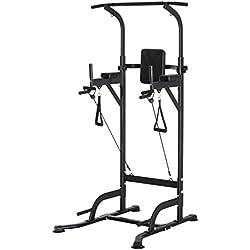 Station de Traction Musculation Multifonctions Chaise Romaine Hauteur réglable Acier Noir