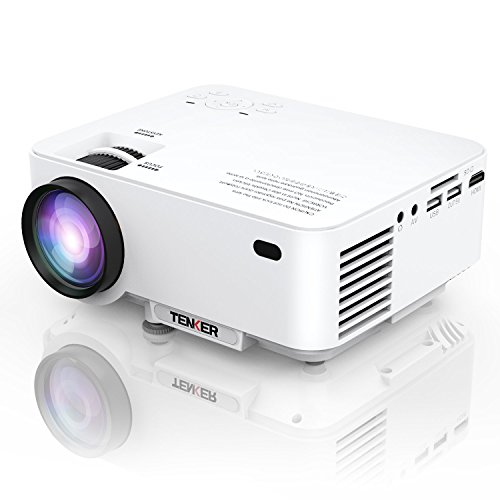 TENKER T20 + (Upgrade) 2000 Lumen LCD Mini Beamer, Tragbare Heimkino Projektor Unterstützung 1080P HDMI USB SD Karte AV VGA für TV Laptop Spiel iPhone Andriod Smartphone enthält HDMI Kabel, - Tragbar Multimedia-projektor