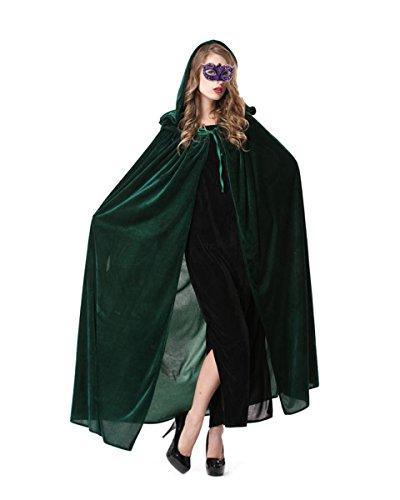 LA HAUTE Halloween Cloak Full Length Crushed Velvet Hooded Cape Cosplay Costume Army Green (Crushed Velvet Cloak)