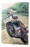 LEotiE SINCE 2004 Blechschild Motorrad Garage Landstraße Wheelie Wand Deko Schild 20X30 cm
