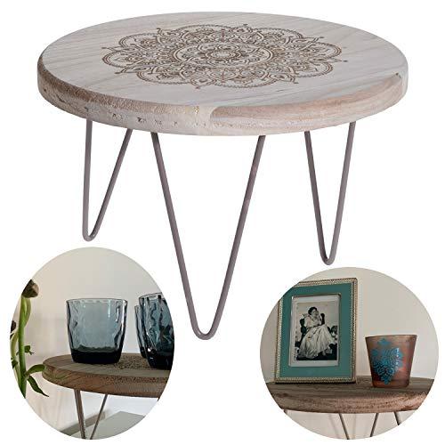 LS-Design Holz Beistelltisch 28cm Mini Couch-Tisch Tablett Blumenständer Pflanzenhocker