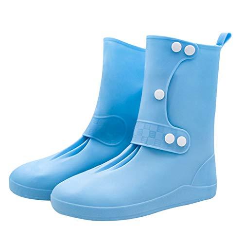 wasserdichte Überschuhe,Regenstiefel mit langem Schlauch Abdeckung Klettern Verdickung Verschleißfester Antirutsch,Radsport-Beinlinge für Damen,Hellblau,XL