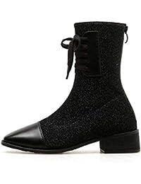 Mujeres Martin Botas Elásticos Tela Pies Cuadrados Puro Color Encaje hasta Botines Zapatos Casuales Vestido De La UE…