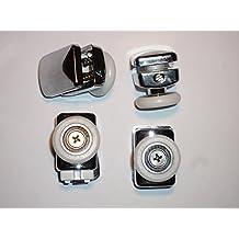 Juego de 4nueva ruedas de ducha,  puerta,  rodillos AM24-–4-2, altura ajustable,  2muelles,  baja de liberación rápida