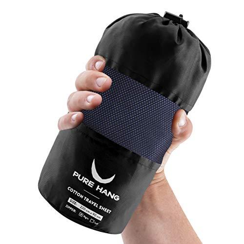 PURE HANG Hüttenschlafsack aus 100% Baumwolle mit Reißverschluss Schlafsack Inlett Inlay Sommer Reiseschlafsack Innensack - Ultra-Leicht Dünn Geringes Packmaß - Zum Verbinden für 2 Personen