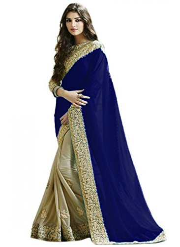 Bigben Textile Georgette Lycra Saree With Blouse Piece (N.Blue_Free Size)