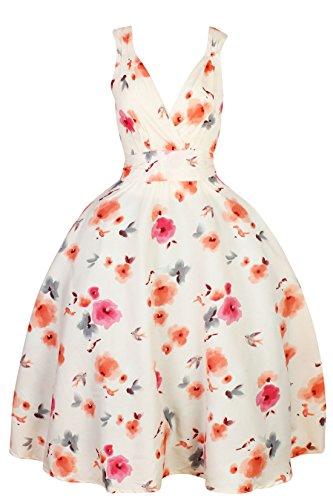 Femmes Rétro Vintage Pin Up Rockabilly Robe Évasée Butterfly Robe Motif Floral Blanc