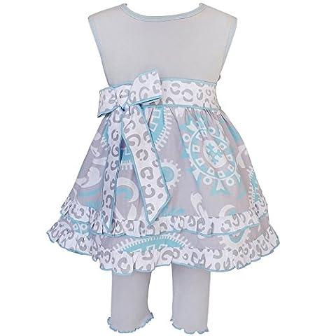 Annloren Baby Girls Blue Gray Floral Dress Capri Legging Spring