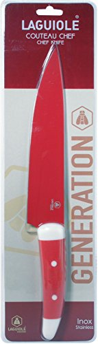 Laguiole Kochmesser Chefmesser Inox Stahl mit Silicongriff Farbe ROT 32 cm