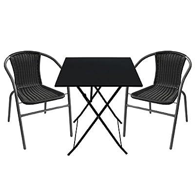 Metall Klapptisch 60x60cm Schwarz Beistelltisch Balkontisch Gartentisch Partytisch Campingtisch Mehrzwecktisch Metalltisch Balkonmöbel klappbar
