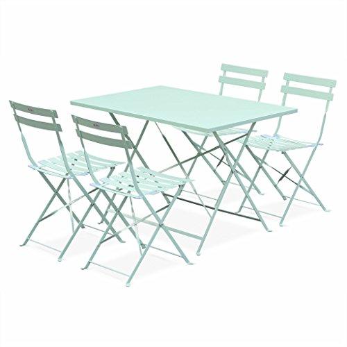 Alice's Garden - Salon de Jardin bistrot Pliable - Emilia rectangulaire Vert anis - Table 110x70cm avec Quatre chaises Pliantes, Acier thermolaqué