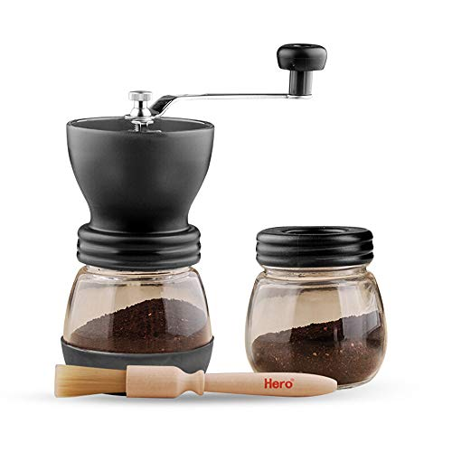 Manual Coffee Grinder with Conical Ceramic Burr - Because Hand Ground  Coffee Beans Taste Best Infinitely Adjustable Grind Glass Jar Quiet and  Portable