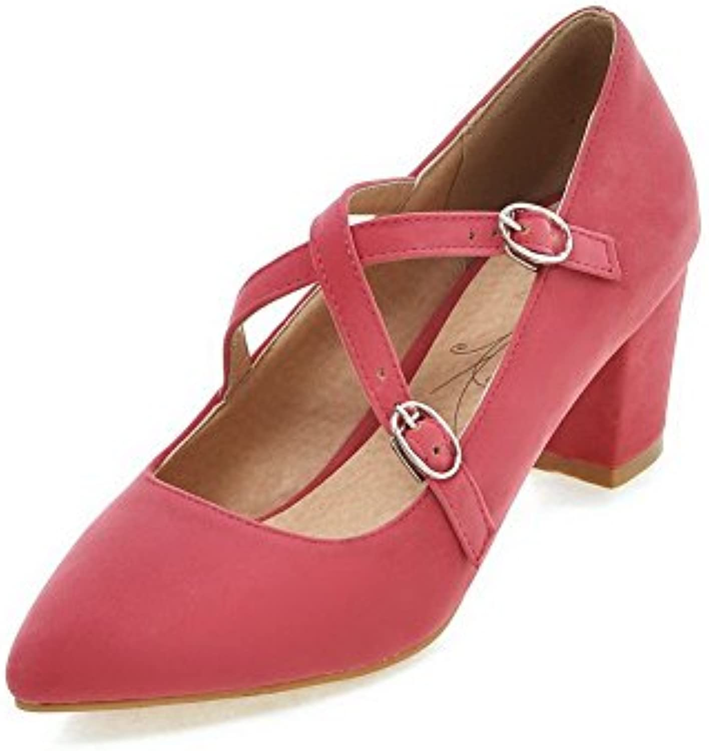 3eeb4654dc1 AgooLar Women s Imitated Suede Kitten-Heels Women s Pointed Closed Toe Solid  Buckle Imitated Buckle Pumps-Shoes B06X8YDN35 Parent b885166