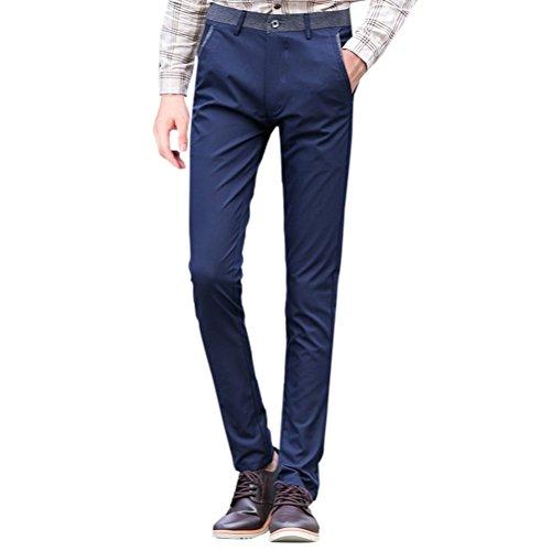 Zhhlaixing Herren Leichte Freizeit hosen Slant Pocket Formal Classic Straight Pants Stretch Slim Fit (Pant Slant Pocket)