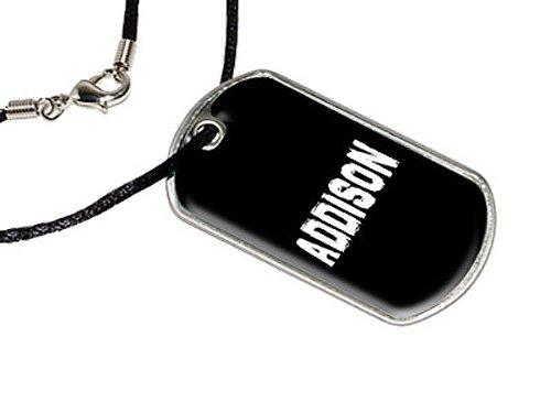 Addison–Namen Militärische Erkennungsmarke schwarz Cord Halskette (Addison-namen)