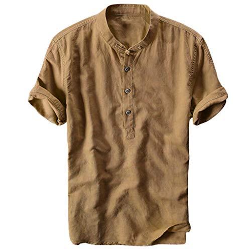 FiveFeed Herren Baggy Baumwolle Leinen Hemden Kurzarm Knopf Retro V Neck T Shirts Tops Oberteile Nepal Fischerhemd Goa Hippie, Herren, Baumwolle, Hemden Alternative Bekleidung