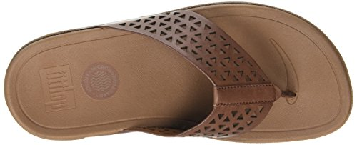 FitFlop Leather Lattice Surfa, Sandales femme Marron - Brown (Dark Tan 277)