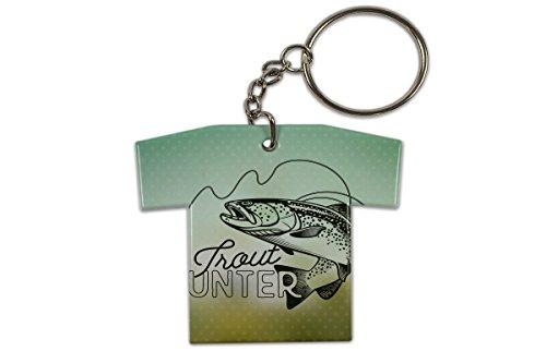 Schlüsselanhänger Angel Fische Forellen Jäger Trikot bedruckt Fischer Haus (Trikot-jäger)