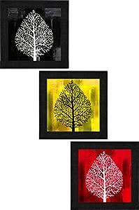 SAF Set of 3 Flower Floral Design UV Textured Home Decorative Gift Item Framed Painting 9.5 inch X 28.5 inch SANFO297