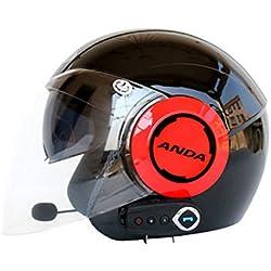 GWJ Casque De Moto Bluetooth + FM City Road Touring Casques À Deux Haut-Parleurs Bluetooth Intégrés avec Microphone pour Répondeur Automatique