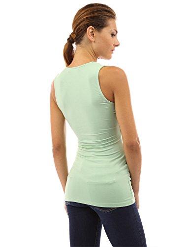 PattyBoutik ärmelloses Damen Bluse mit Rüschen und V-Ausschnitt Mintgrün