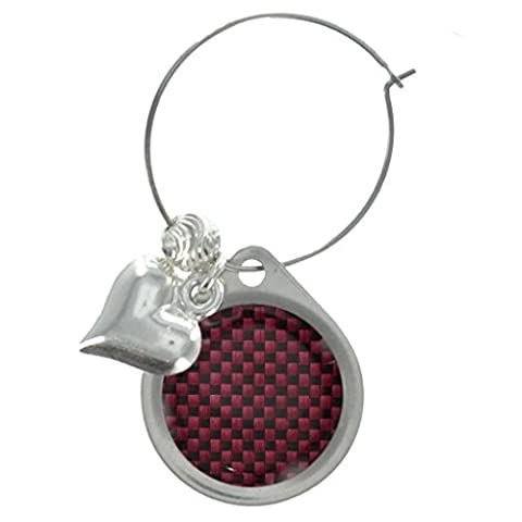 Burgund Rot Carbon Design Wein Glas Charme mit dekorativen Perlen