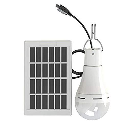 Sigarear Bombilla solar, lámpara solar, luz LED portátil, linterna recargable con panel solar para camping, pesca, emergencia, apagado