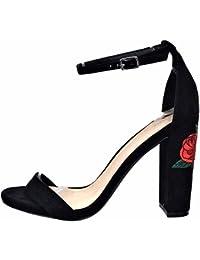 Minetom Mujer Verano Elegante Moda Rosa Bordado Tacón Sandals Tobillo Correa Hebilla Sandalias Zapatos de Tacón Alto
