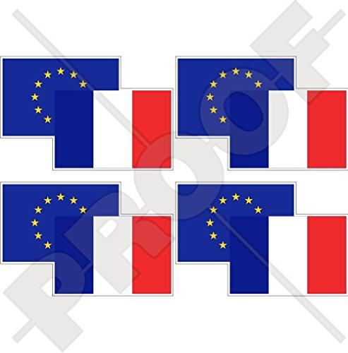 Européenne union-france Drapeau Paire, eu-fr europe-french 5,1 cm (50 mm) bumper-helmet en vinyle autocollants, Stickers x4