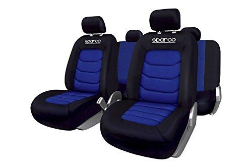 Sparco spc spc1019az set di coprisedili, compatibili con airbag, blu/nero