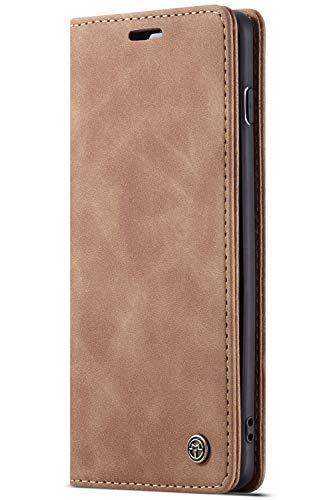 Handyhülle Case Compatible with Samsung Galaxy S10, Kusnt Leder Flip Case Handytasche mit Kredit Karten Hülle Geldklammer Unsichtbar Magnet & Stand Funktion Schutzhülle,Braun