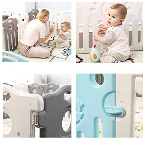 Baby Playpen HUYP Large Plastic Pet Fence Grey Baby Fence Safety Boy Girl (Size : 22 small pieces)  HUYP