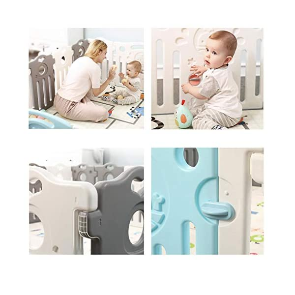 Baby Playpen HUYP Large Plastic Pet Fence Grey Baby Fence Safety Boy Girl (Size : 22 small pieces) Baby Playpen  6