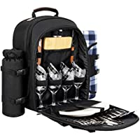 Sunflora Mochila Picnic 4 Personas para Picnic Camping Blosa Picnic, con Manta de Picnic Desmontable y Botella/Titular de Vino (Negro)