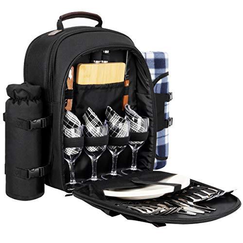 Sunflora Picknick-Rucksack für 4 Personen, Set mit isolierter, wasserdichter Tasche für Familie, Outdoor, Camping schwarz