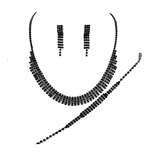 Black diamante necklace bracelet and earring set for proms parties