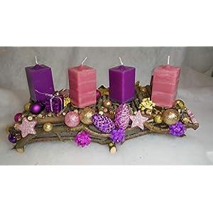 "Adventstablett""Purple Christmas"" aus Naturholz inkl. Handmade-Kerzen"