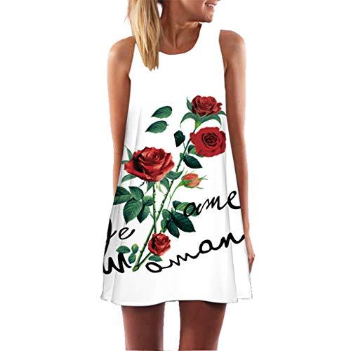 Robes Vintage,Daysing Femmes Vintage Boho Summer Sleeveless Beach Imprimé Mini Robe Courte Nouvelle Mode D'éTé Imprimé Floral 3D LâChe Grande Taille Une Jupe De Mot