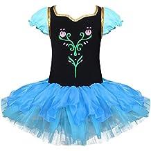 YIZYIF M-XXL Flor Estampado Maillot Ballet Tutú Leotardo Vestido Ballet Princesa Bordado Algodón Tul Vestido De Danza Manga Corta Para Niñas 2-8 Años