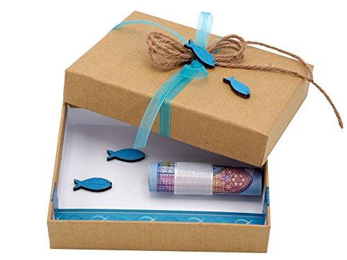 ZauberDeko Geldgeschenk Verpackung Isaak Fisch Blau Türkis Petrol Kommunion Konfirmation Geschenk Gutschein