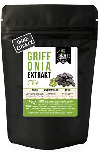 Griffonia Simplicifolia EXTRAKT   98% 5-HTP   240 KAPSELN   100mg hochdosiertes Extrakt   ohne chem. Zusätze   laborgeprüft   wiederverschließbarer Zippbeutel   100% vegan & in Deutschland abgefüllt