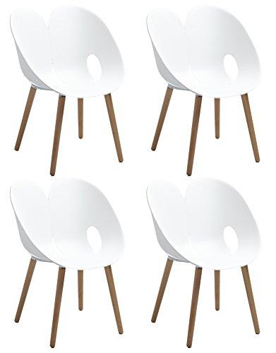 Lot de 4 chaises raffinées & Design by Frederic Rossi et Enrico Maglione - Blanc épuré et Bois de hêtre - Collection Love