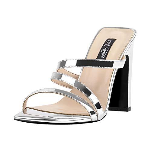 Onlymaker Frauen High Heels Pantoletten Square Toe Offene Zehe Sandaletten Pumps Silber Slip On Riemchen Sandalen mit Absatz 46 EU Square Heel