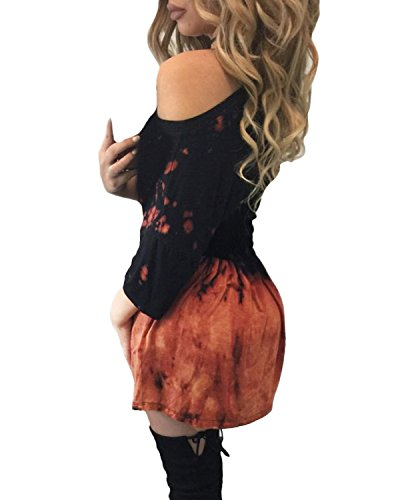 Auxo Damen Kurzarm Bodycon Printing Party Club Lose Oversize Slim Mini Kurz Kleider Als Bild