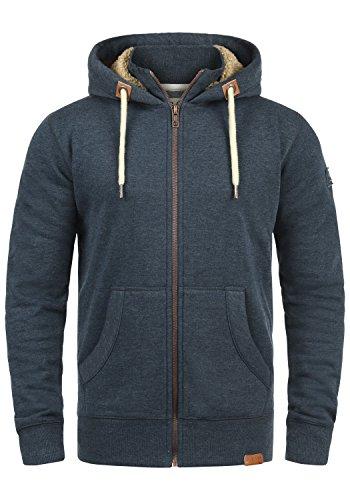 !Solid Trip-Zip Pile Herren Sweatjacke Kapuzen-Jacke Zip-Hoodie mit Teddy-Futter aus Hochwertiger Baumwollmischung, Größe:L, Farbe:ins Blu M (P8991) Asos Zip
