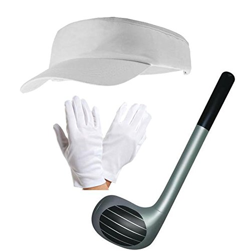 White Visor Cap Hat Gloves and 92cm Inflatable Club Sports Fancy Dress Stag Night