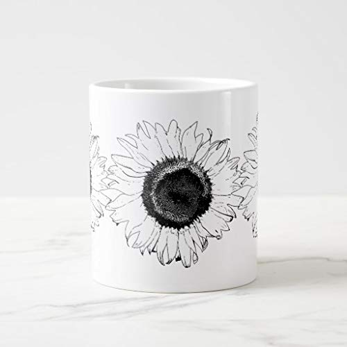 White Mugs White Ceramic Glossy Coffee Mug Black And White Sunflower Jumbo Mug - Jumbo Ceramic Mug