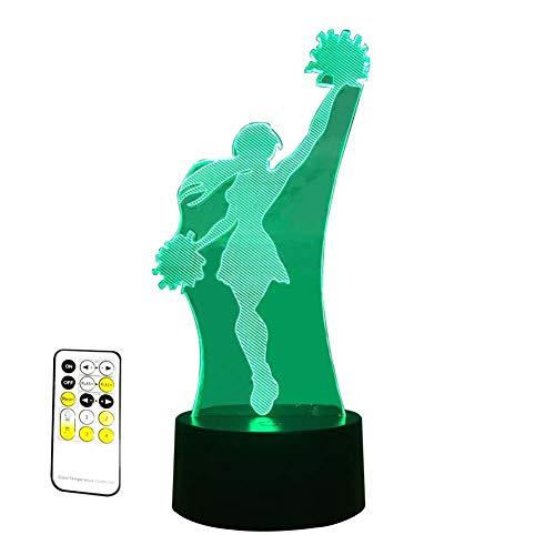 (Izzya Illusion LED Erleuchtung Acrylplatte Tischlampe Pom-Pom-Mädchen 3D Muster - Sieben Farben Einstellbar - Berührungsempfindlicher Schalter + Fernbedienung - USB-Aufladung + Akkuleistung)