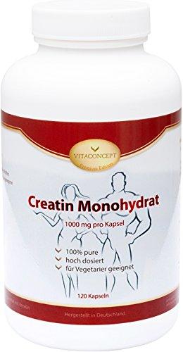 Creatin Monohydrat – 1000 mg pro Kapsel – 120 Kapseln – Muskelaufbau & enormer Kraftzuwachs – Muskeldefinition und Leistungssteigerung – optimale Muskeldefinition & Muskelaufbau – Kreatin Made in Germany – VITACONCEPT