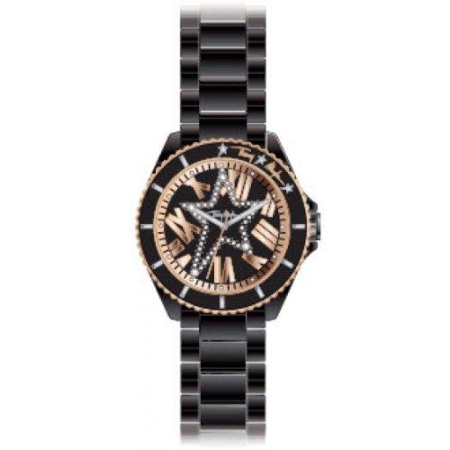 Thierry Mugler 4708501 - Reloj analógico de cuarzo para mujer con correa de cerámica, color negro